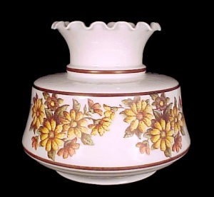 Electric Student Lamp Milk Glass Floral Daisy Daisies Yellow White