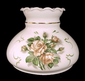 Milk Glass Roses Student Lamp Shade White 7 In Desk Table Wall Sconce