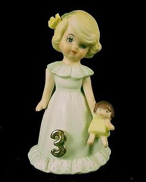 Enesco 1981 Growing Up Birthday Girl 3 Figurine Blonde
