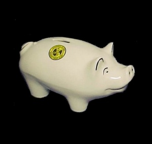 University Of Ia Iowa Coin Piggy Bank Pig Pottery Souvenir Advertising
