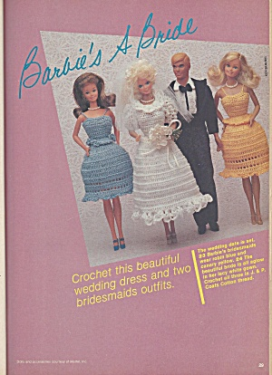 Vintage Knitting & Crochet Patterns 1981 Barbie Wedding