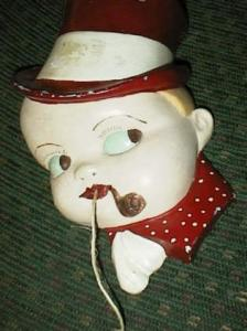 Old Chalkware Boy With Pipe Stringholder