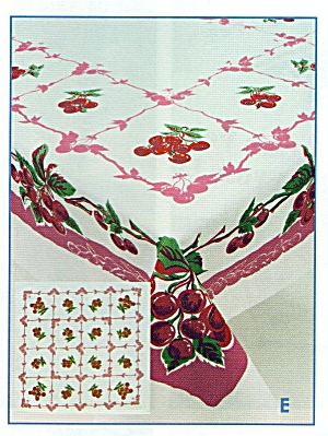 Vintage Pattern Cherry Tablecloth W/holder