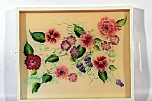 Hand Painted Floral Serving Tray With Open Handles