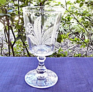 Gillinder Etched Lily Of The Valley Goblet