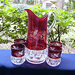 Kings Crown Ruby Thumbprint Tumblers And Pitcher