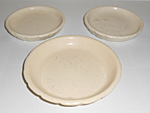 Weller Pottery Set/3 Swirl Flower Pot Saucers