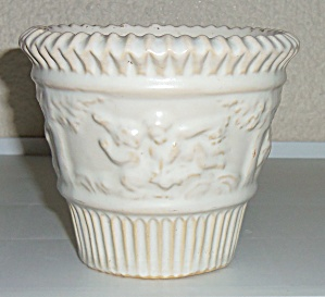 "Roseville Pottery Ivory #580-4"" Flower Pot"