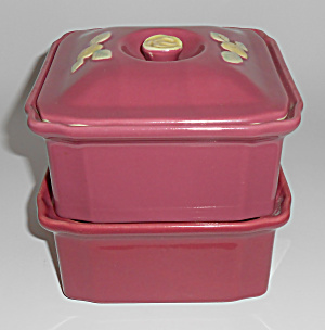Coors Pottery Rosebud Red Refrigerator 3-pc Set Mint