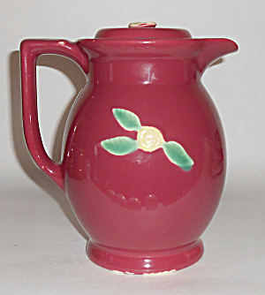 Coors Pottery Rosebud Large Red Covered Pitcher Mint