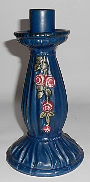 Weller Pottery Blue Drapery Candlestick Holder