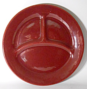 Bauer Pottery Plain Ware Burgundy Grill Plate Mint