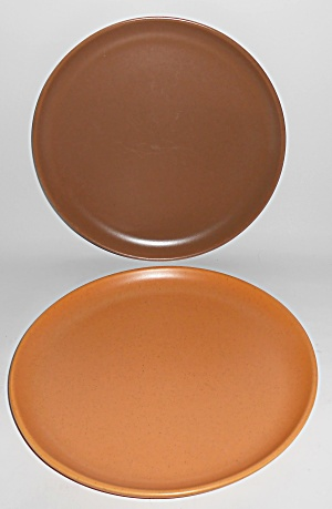 Bauer Pottery Brusche' Pair Dinner Plates Mint