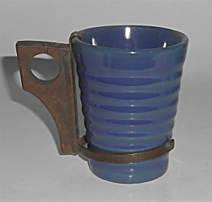 Bauer Pottery Ring Ware Cobalt 6 Oz Tumbler Mint