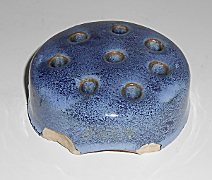 Weller Pottery Blue Drip Flower Frog