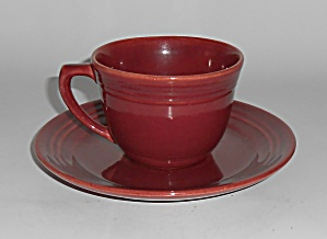 Bauer Pottery El Chico Burgundy Cup & Saucer Set