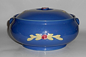 Coors Pottery Rosebud Blue French Casserole Mint