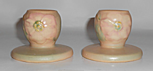 Weller Pottery Pair Wild Rose Candlestick Holders Mint