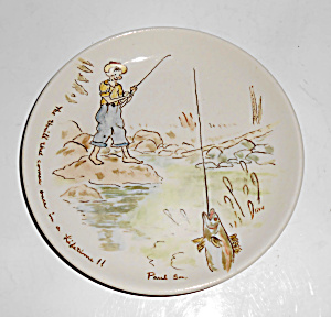 Winfield China Pottery Hand Decorated Boy Fishing Plate