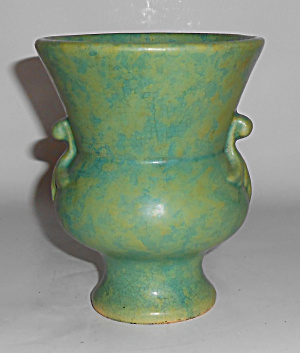 Weller Art Pottery Early Mottled Matte Green Vase Mint