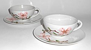 California Ceramics Orchard Ware Pink Dogwood 2 Cups/sa
