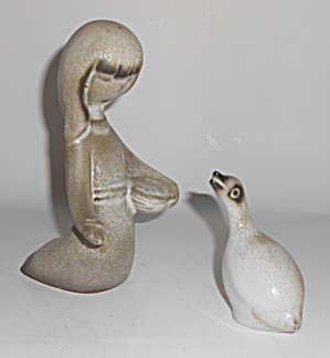 Howard Pierce Porcelain Girl Feeding Goose Figurines
