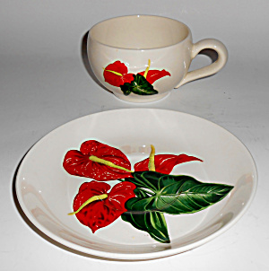 Santa Anita Ware Pottery Red Anthurium Cup & Saucer Set