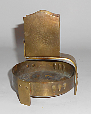 Hammered Brass Arts & Crafts / Mission Ashtray / Match
