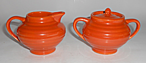 Bauer Pottery Ring Ware Orange Demi Creamer & Sugar Set