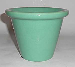 Bauer Pottery 4in Early Jade Rolled Rim Flower Pot