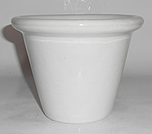Bauer Pottery 4in Early White Rolled Rim Flower Pot