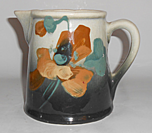 Owens Art Pottery Hand Decorated Lotus Pitcher Rare