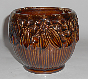 Mccoy Art Pottery Brown Onyx Holly Jardiniere