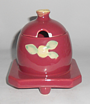 Coors Pottery Rosebud Red Honeypot W/lid