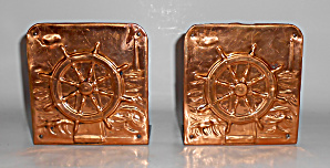 Vintage Copper Clad Ships Wheel Bookend Set