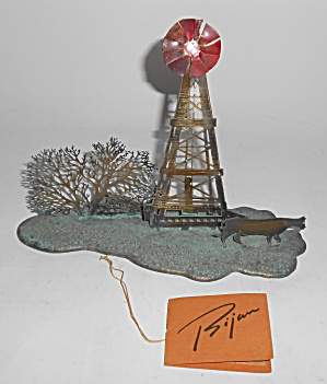 Bijan Art Metal Western Cow/windmill/tree Sculpture