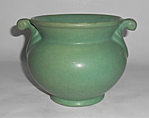 Rumrill Art Pottery Twin Handle Matte Green Vase