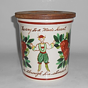 Bauer Pottery Strawberry Decorated Motto Jar W/lid