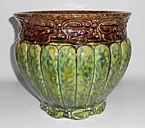 Weller Art Pottery Green/brown Spongeware Jardiniere