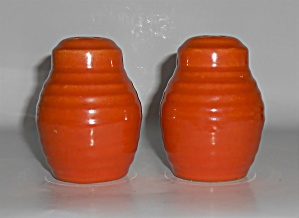 Bauer Pottery Ring Ware Orange Pair Barrel Shakers