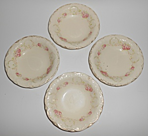 Poxon Vernon Pottery Floral W/gold Set/4 Fruit Bowls -