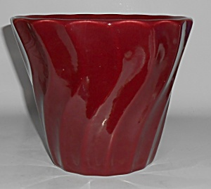 "Bauer Pottery 6"" Burgundy Swirl Flower Pot"