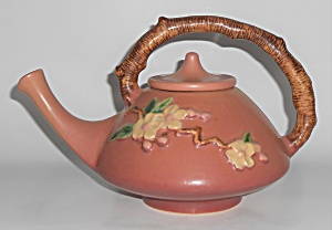 Roseville Art Pottery Rose Apple Blossom Teapot W/lid