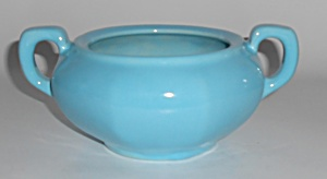 Catalina Island Pottery 8-sided Turquoise Sugar Bowl