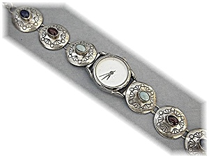 Native American Sterling Silver Jewel Band Watch