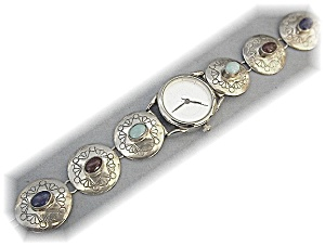 Native American Accutime Watch Sterling Silver Band
