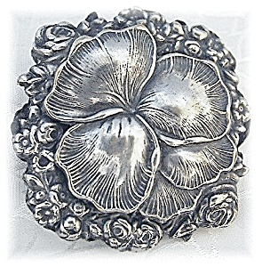 Fabulous & Huge Silver Pansy & Rose's Brooch