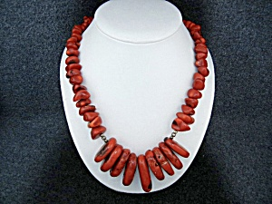Red Coral Aterling Silver Spacers Artist Necklace