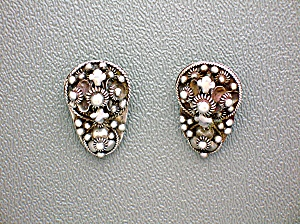 Sterling Silver Antique 939 Clip Signed Earrings