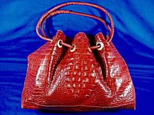 Brahmin Red Leather Trina Drawstring Handbag